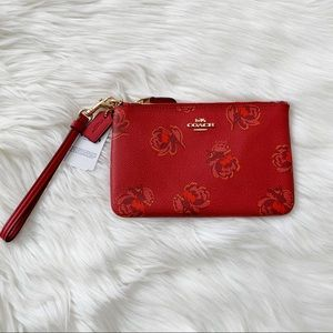 Coach Rose Leather Wristlet New